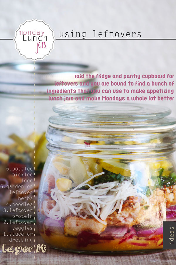 Monday Lunch Jars using Leftovers