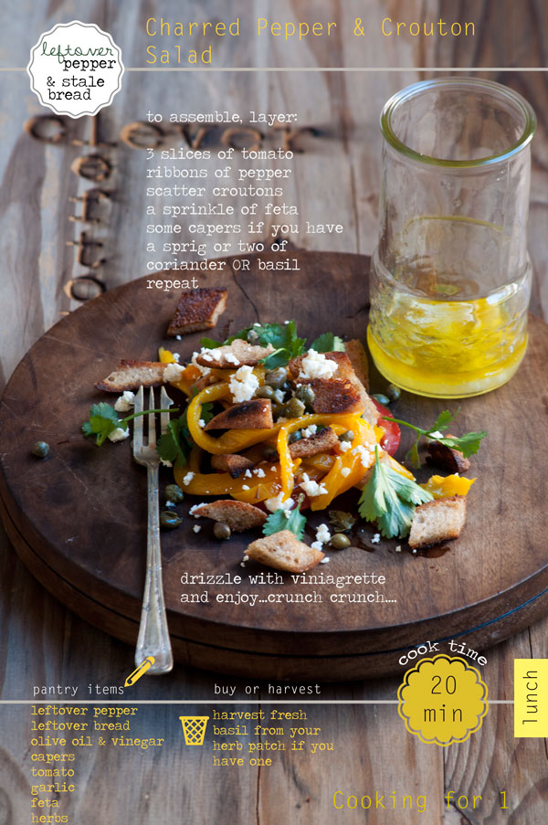 Lunch for 1 – Charred Pepper & Crouton Salad