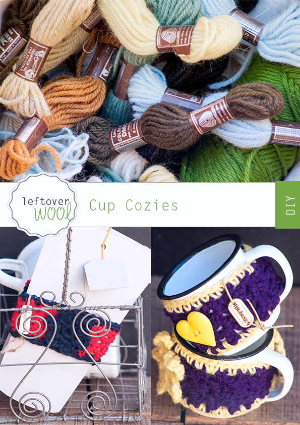 Cup Cozies from Leftover Wool